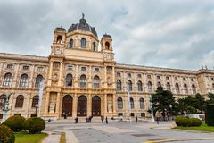 View of famous Natural History Museum with park and sculpture in Vienna, Austria Royalty Free Stock Photos