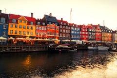 View of famous Nyhavn area in the center of Copenhagen, Denmark in the morning stock image
