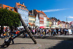 View of the famous Nyhavn in Summer, Copenhagen royalty free stock image