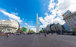 View on the famous Obelisco in Buenos Aires. BUENOS AIRES, ARGENTINA - CIRCA FEBRUARY 2019: View on People pass by in front of the famous Obelisk landmark in the royalty free stock photos