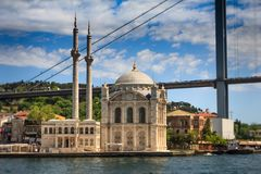 View of the famous Ortakoy mosque Ortakoy Camii and Bosphorus bridge. Istanbul. Turkey Stock Photos