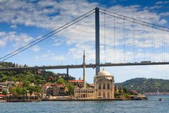 View of the famous Ortakoy mosque Ortakoy Camii and Bosphorus bridge. Istanbul. Turkey Stock Photography