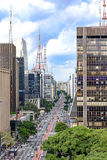 View of the famous Paulista Avenue. Financial center of the city and one of the main places of São Paulo, Brazil Royalty Free Stock Photos