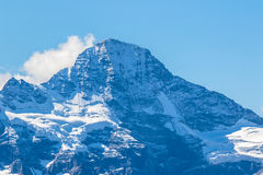 View of the famous peak Breithorn. Near Jungfrau of the swiss Alps on Bernese Oberland in Switzerland Royalty Free Stock Photography