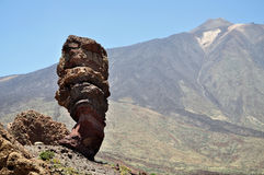 View of the famous Pico del Teide mountain with Roque Cinchado, Tenerife, Canary Islands Stock Image