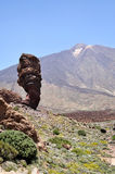 View of the famous Pico del Teide mountain with Roque Cinchado, Tenerife, Canary Islands Royalty Free Stock Images