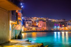 Mykonos port with boats and windmills, Cyclades islands. royalty free stock photo