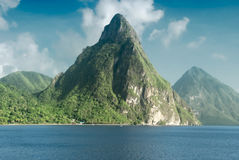 View of the famous Piton mountains in St Lucia. Caribbean Islands Royalty Free Stock Image
