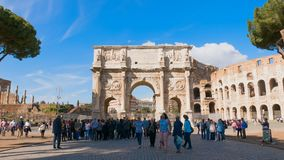 Triumphal Arch of Constantine, Best travel around the world, Italy Lazio Rome. View of famous places in Italy, Triumphal Arch of Constantine in Rome front of stock footage