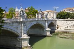 View of famous Sant ` Angelo Bridge. River Tiber.  royalty free stock images