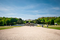 View of famous Schoenbrunn Palace in Vienna, Austria royalty free stock photography