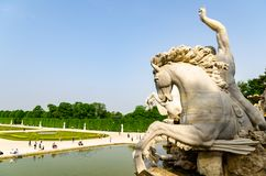 View at famous Schonbrunn Palace with Great Parterre garden royalty free stock photography