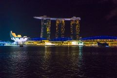 View Of Famous Singapore Marina Bay Sands Hotel At Night. Stock Photos