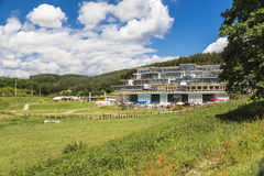 View of the famous spa resort with thermal spring water Royalty Free Stock Photos