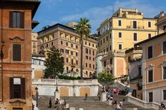 View of the famous Spanish Steps in the center of Rome royalty free stock images
