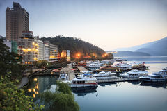 A view of the famous Sun Moon Lake Stock Photos