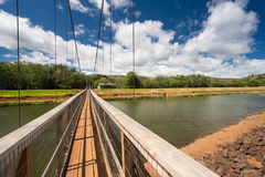 View of the famous swinging bridge in Hanapepe Kauai Royalty Free Stock Photos
