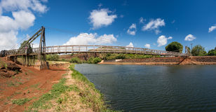View of the famous swinging bridge in Hanapepe Kauai stock photo