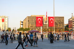 View of famous Taksim square in Istambul. Turkey. TURKEY, ISTANBUL - MAY 20, 2016: View of famous Taksim square in Istambul. Taksim is a main transportation hub Stock Image