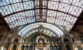 View at famous train station of Antwerpen Stock Images