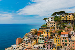 View of famous travel landmark destination Riomaggiore colorful houses, small mediterranean old sea town,Cinque terre Royalty Free Stock Image