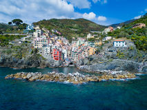 View of famous travel landmark destination Riomaggiore colorful houses, small mediterranean old sea town,Cinque terre Royalty Free Stock Photography