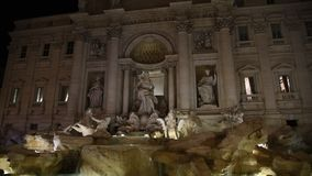 View of the famous Trevi fountain in Rome stock video footage