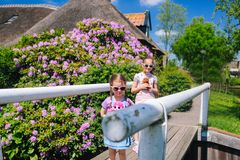 View of famous Giethoorn village with canals in the province of `Overijssel stock photos