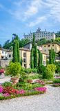 View on famous villa Garzoni in Tuscany with nice gardend in foreground royalty free stock photos