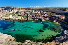 Malta. Village Popeye. View of the famous village Popeye and bay on a sunny day. Malta Stock Photography