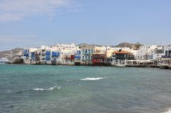 View of famous waterfront cafes and houses of Mykonos town Royalty Free Stock Photography