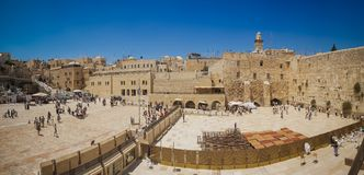 View of the famous Western Wall, most ancient monument of the religion. Jerusalem old town, Israel stock image