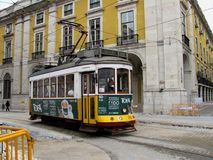 View of the famous yellow tramway at Lisbon Portugal. Lisbon, Portugal - April 22, 2012: View of the famous yellow tramway at Lisbon Portugal Stock Image