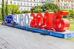 View of the fan zone for the Eurocup 2016  in the Place Massena, Nice, France Royalty Free Stock Images