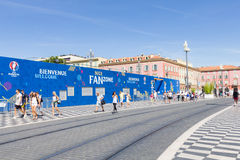 View of the fan zone for the Eurocup 2016  in the Place Massena, Nice, France Stock Images