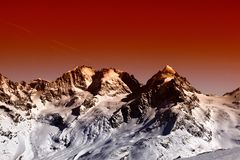 A view of fantastic colorized mountains in the switzerland.  stock photo