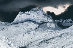 A view of fantastic colorized mountains in the switzerland.  stock image