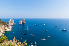 View of Faraglioni cliffs and the Tyrrhenian sea Stock Images