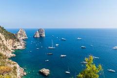 View of Faraglioni cliffs and the Tyrrhenian sea Royalty Free Stock Photo