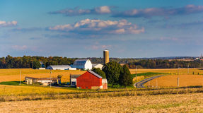 View of a farm and country road in rural York County, Pennsylvania. royalty free stock images