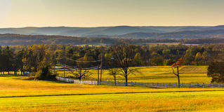 View of farm fields and distant hills from Longstreet Observation Tower in Gettysburg, Pennsylvania. royalty free stock photo