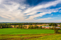 View of farm fields in rural Lancaster County, Pennsylvania. stock images