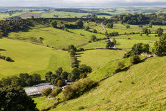 View of farm land and River Dove in Crowdecote Royalty Free Stock Images