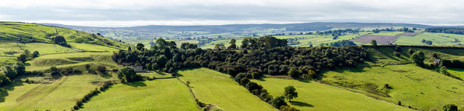 View of farm land and River Dove in Crowdecote Stock Photo