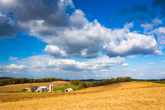 View of a farm near Glen Rock, Pennsylvania. Royalty Free Stock Photo