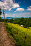View of a farm in the rural Potomac Highlands of West Virginia. Royalty Free Stock Image