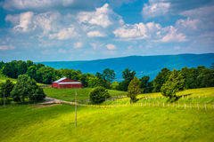 View of a farm in the rural Potomac Highlands of West Virginia. Royalty Free Stock Photo