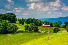 View of a farm in the rural Potomac Highlands of West Virginia. Stock Photos