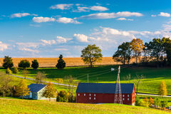 View of a farm in rural York County, Pennsylvania. Stock Image
