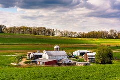 View of a farm in rural York County, Pennsylvania. Royalty Free Stock Photo